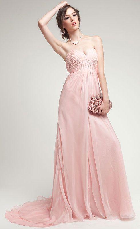 Simply sensational Strapless Double Layered Silk Chiffon Prom Dress ...