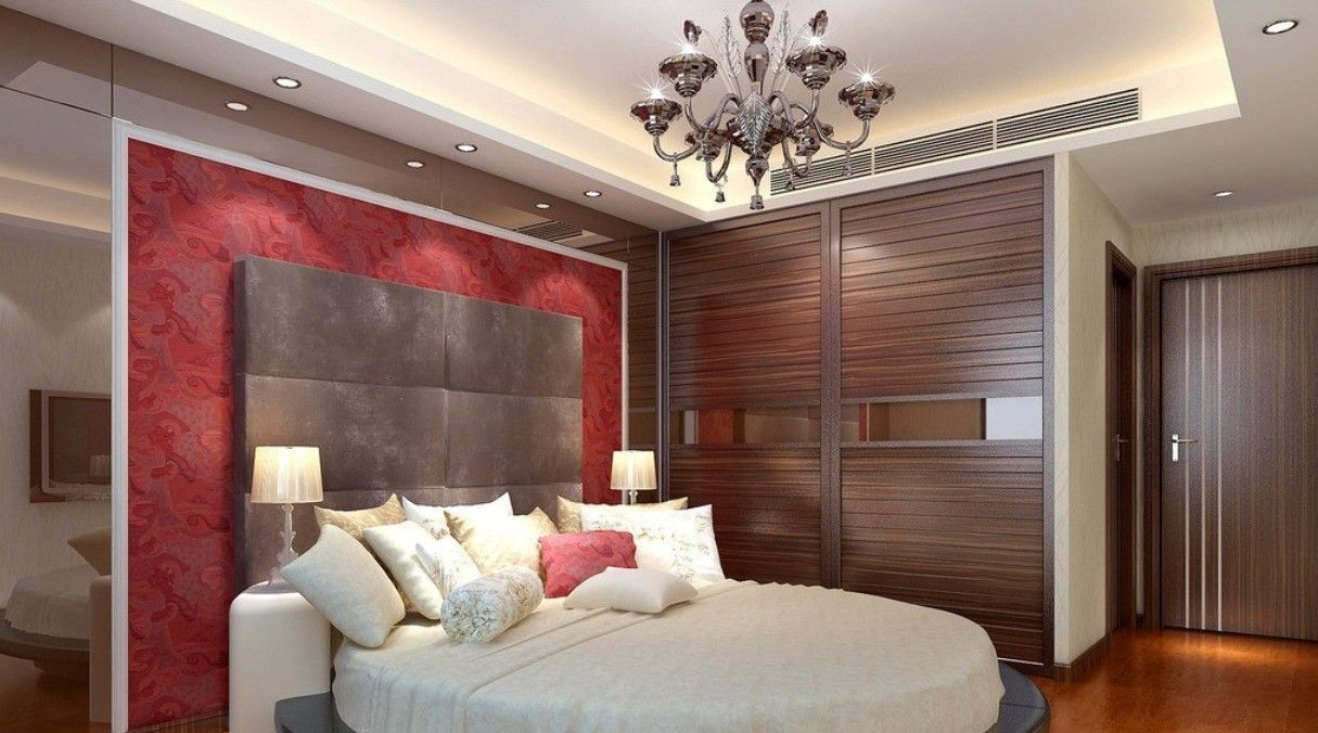 Modern master bedroom ceiling designs - Fascinating Bedroom Design With Unique Ceiling Light Ideas And Modern Round Bed Also Using Wood Flooring