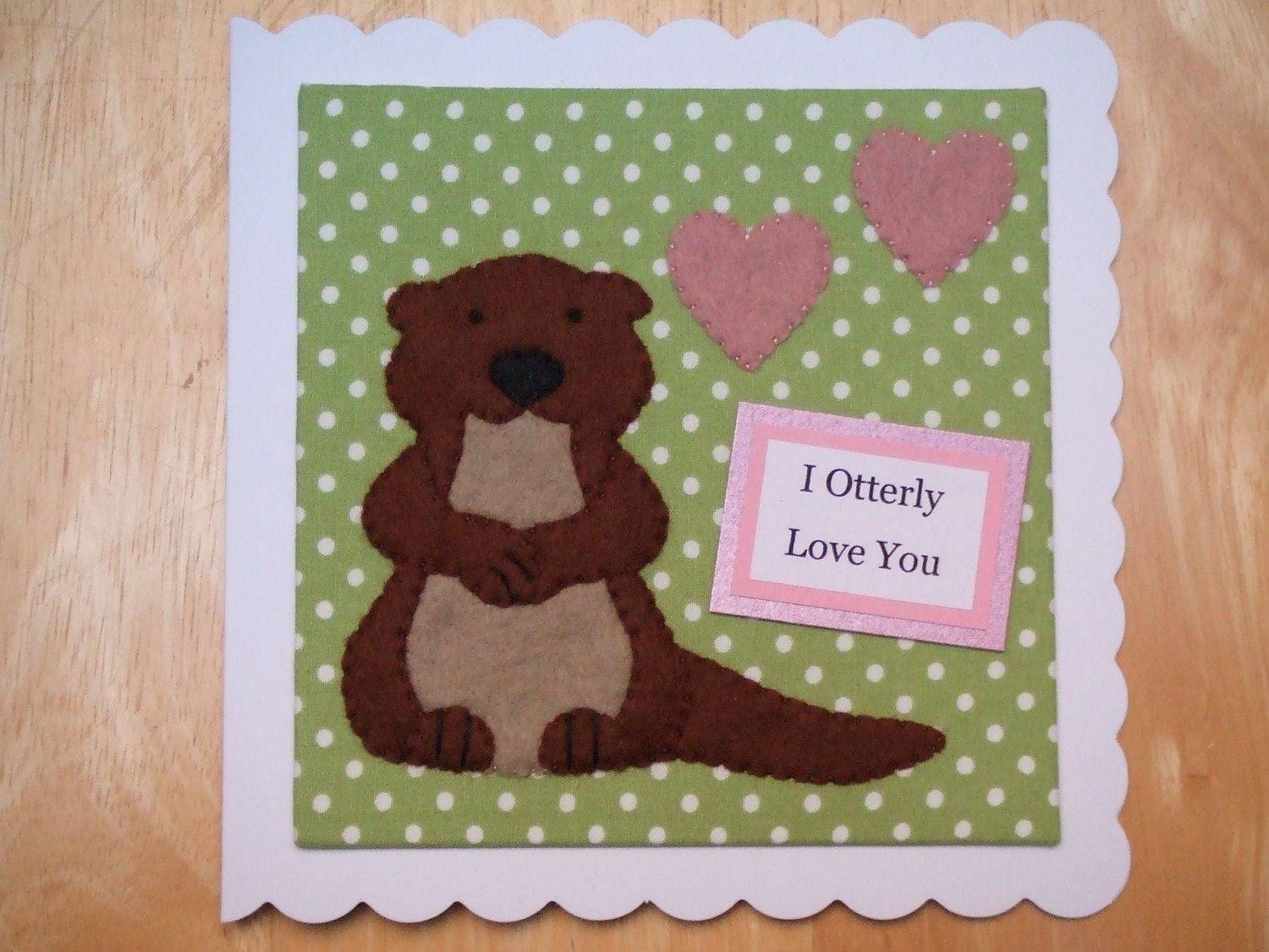 Love Greeting Cards Handmade Cards Animal Greeting Cards Otter