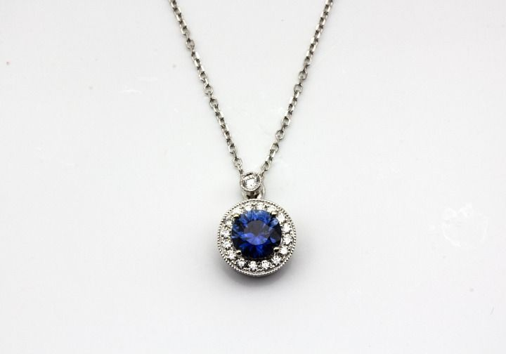 This 14K Fancy Montana Sapphire & Diamond Pendant would be the perfect gift for any occasion! #montanajewelry