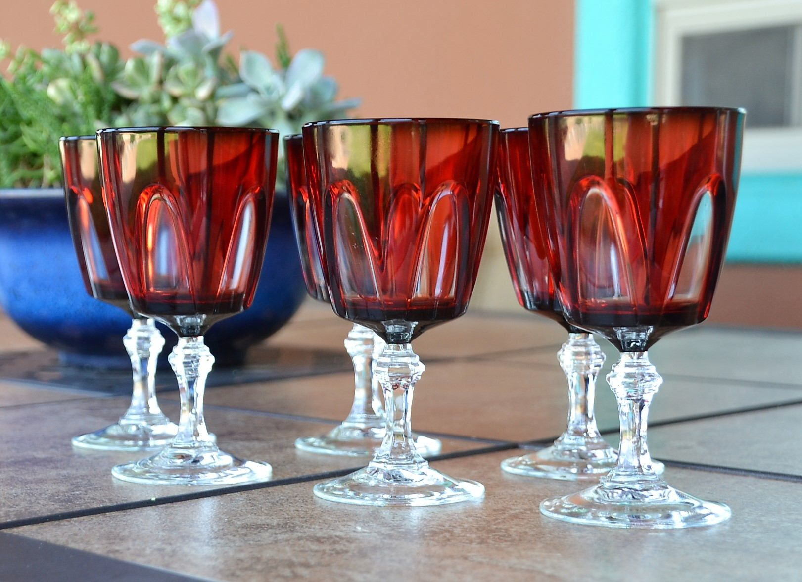 6 Cristal D Arques Durand Red Gothic Arches Glasses Etsy Red Gothic Gothic Wine Red Wine Glasses