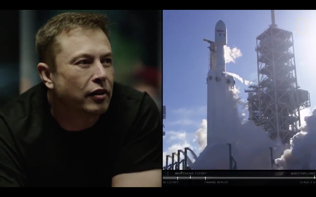 Here's a video of Elon Musk watching the Falcon Heavy take