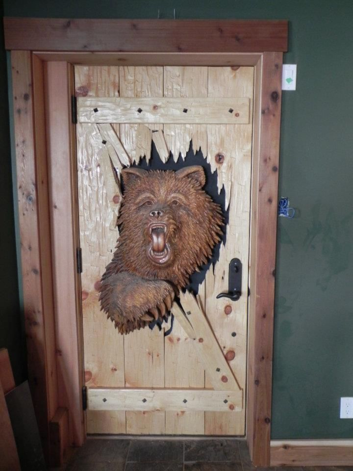 Custom Doors & Um this would scare the shit out of my kids. For one its a bear ...