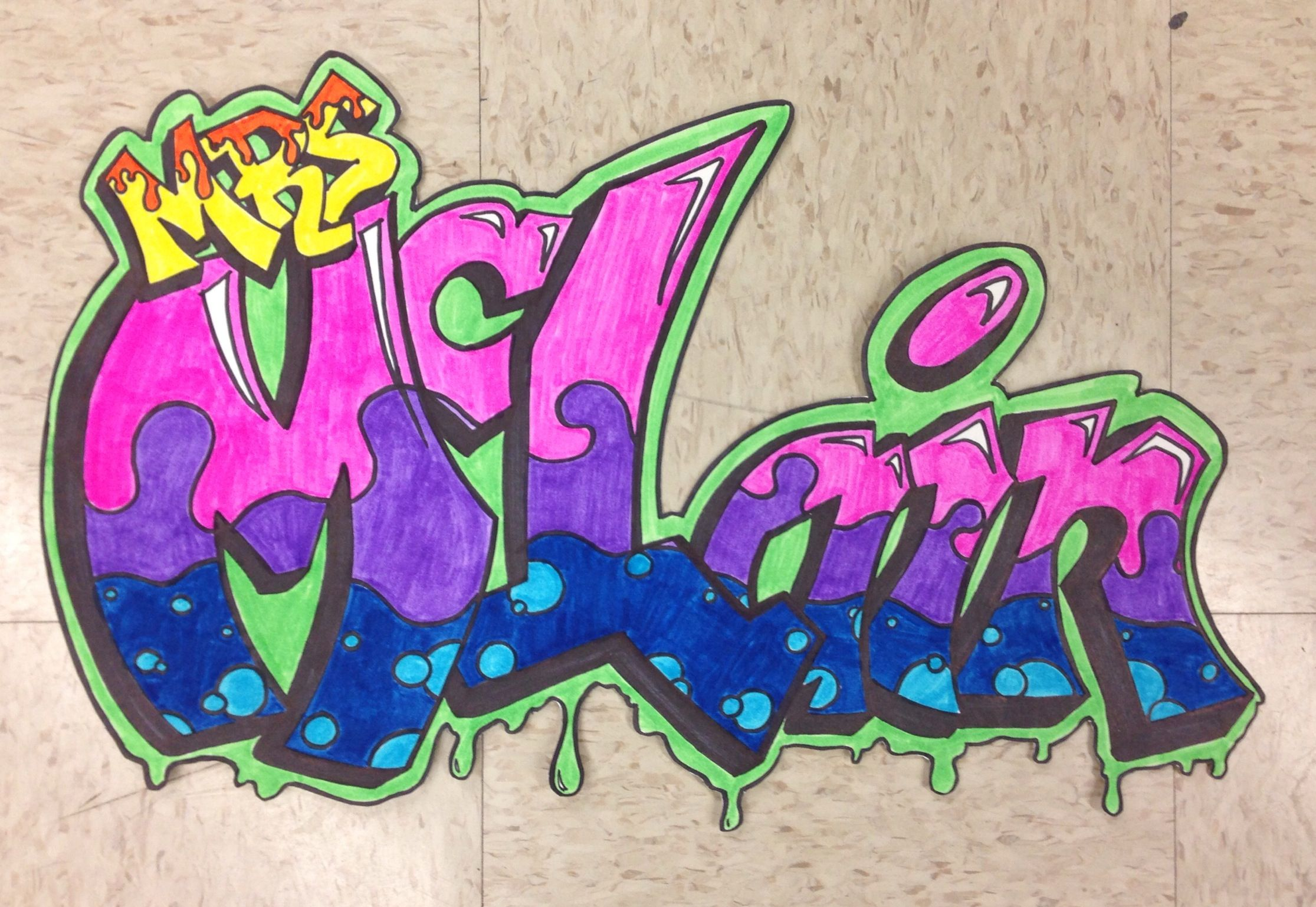 Middle school art lesson example graffiti name drawings from mrs mclains art classroom