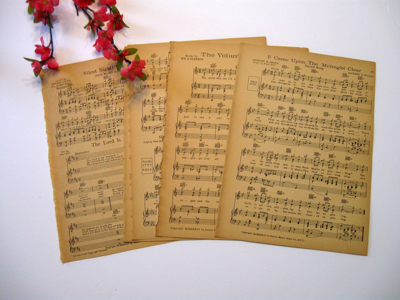 Vintage sheet music paper sheets music sheets wedding paper