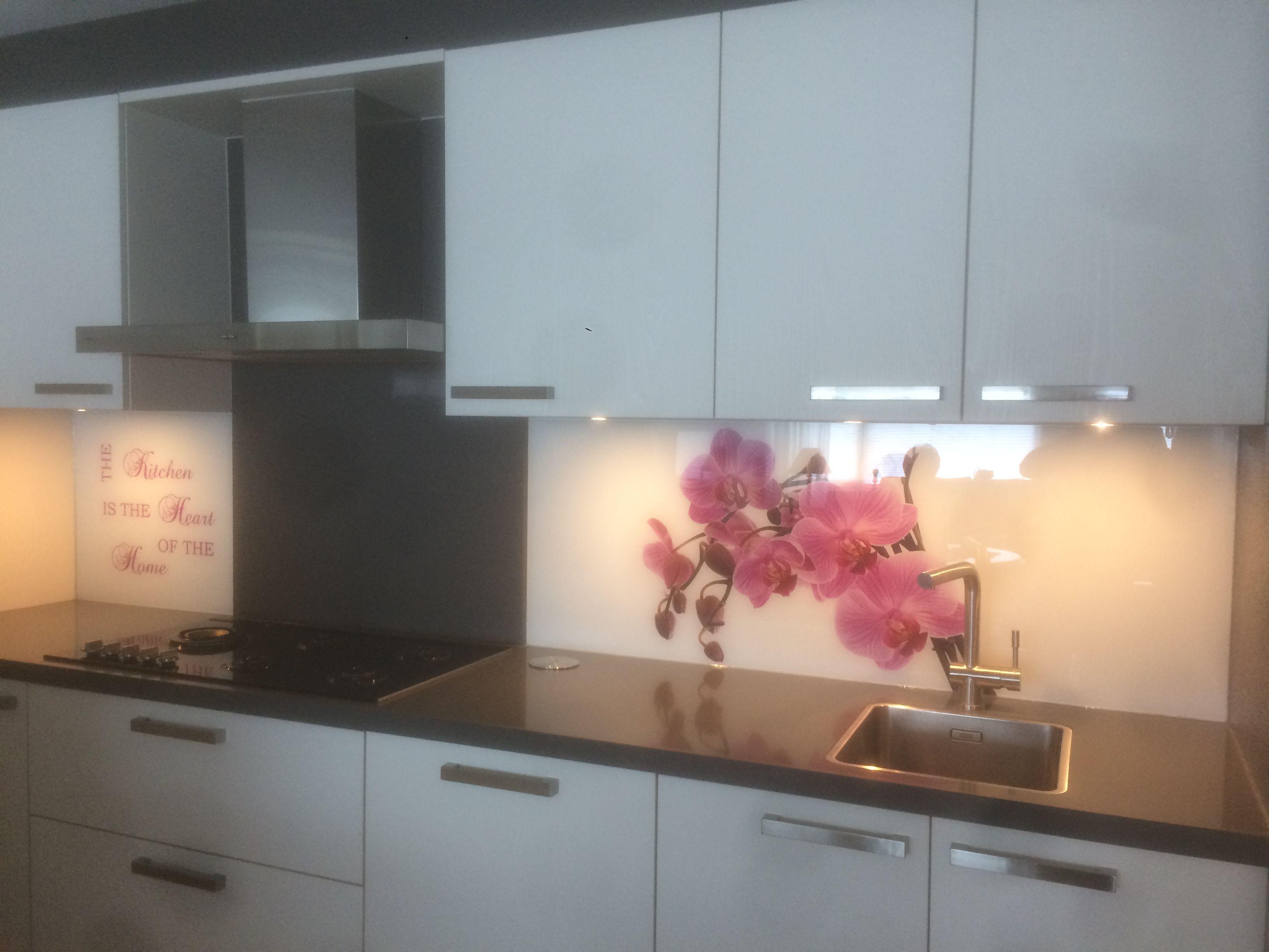 glazen keukenwand met print orchidee premiumglas collectie pinterest. Black Bedroom Furniture Sets. Home Design Ideas