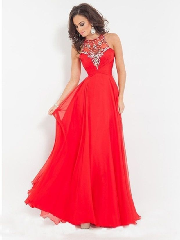 Red Prom Dress 2015 Long High Neck Beading party dress Chiffon A ...