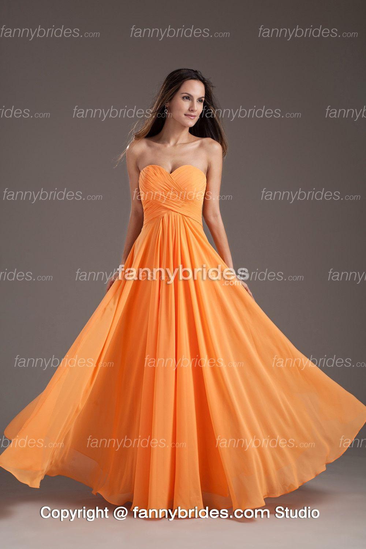 Absorbing cheap orange sweetheart chiffon bridesmaid dress