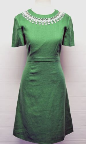 Kate-Spade-New-York-Lucky-Green-Embellished-Bell-Sleeve-Dress-Size-4-448