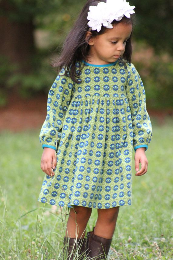 Snapdragon Dress PDF pattern for Knits Girls Knit Dress Pattern Long Sleeve Knit Dress Knit Dress Sewing Pattern