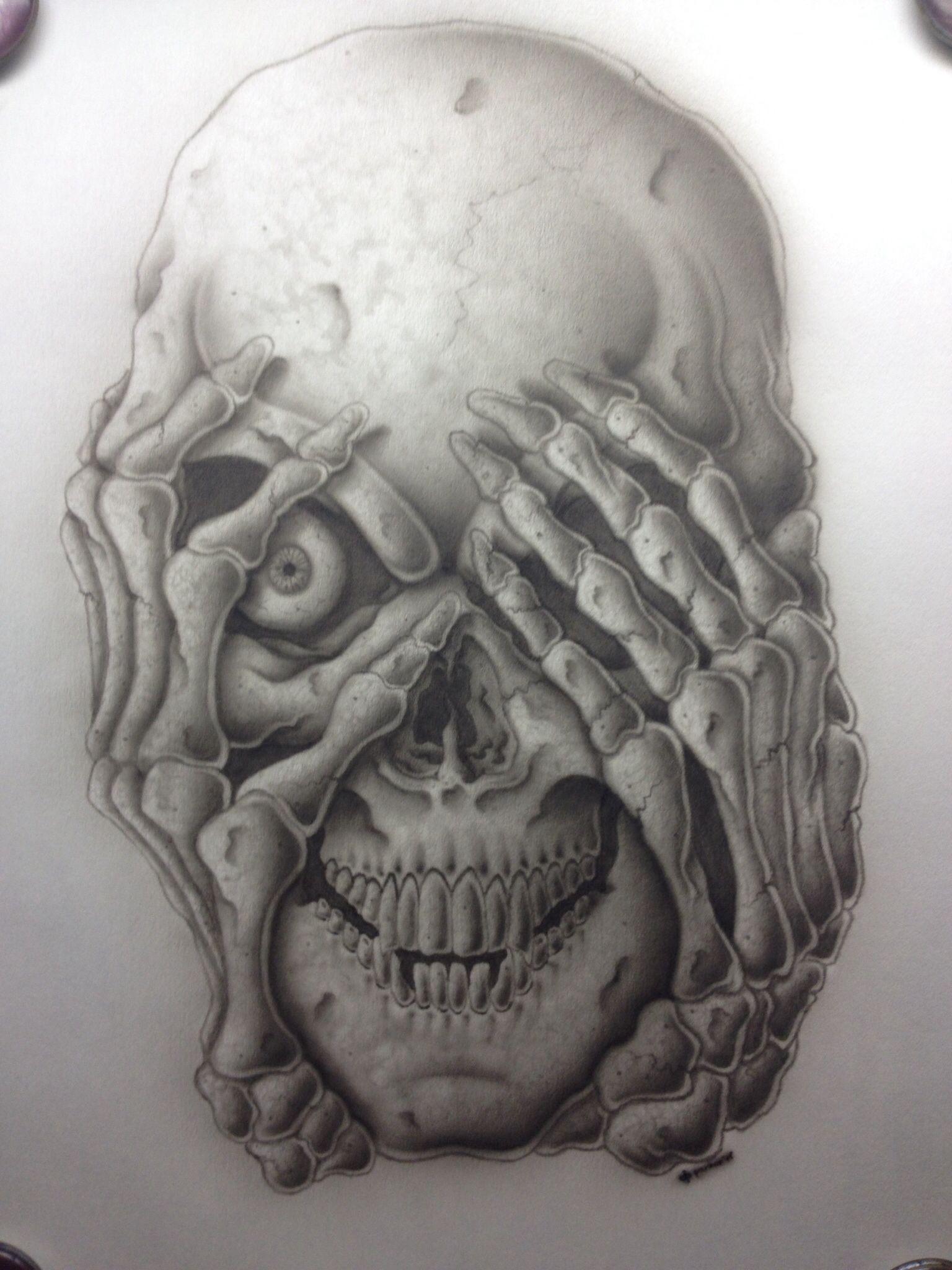 Airbrushed skull on airbrush paper. | Airbrush skull ...