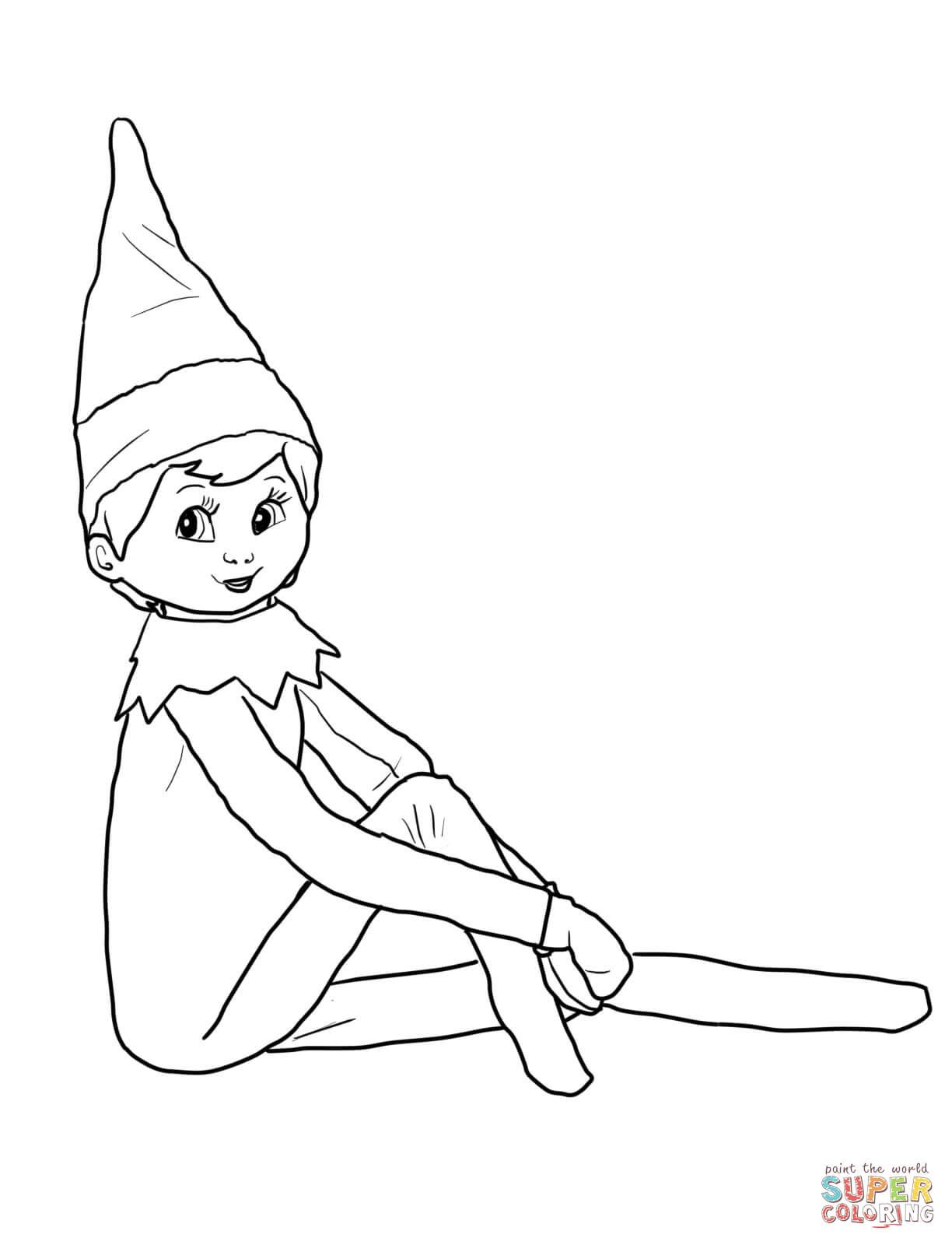 Elf On The Shelf Coloring Page From Elf On The Shelf Category Select From Printable