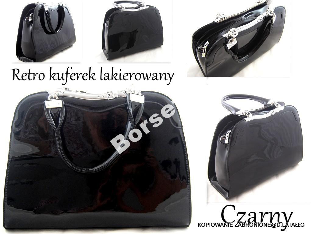 Torebka Damska Czarna Lakier Retro Kuferek Birk 4721826467 Oficjalne Archiwum Allegro Bags Gym Bag Fashion