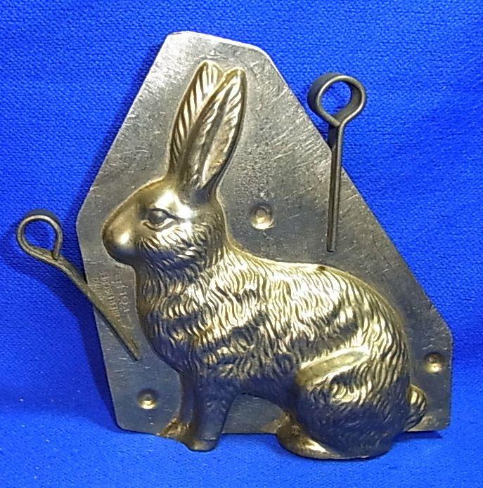 Vintage German Metal Easter Rabbit Form Chocolate Mold #AR2
