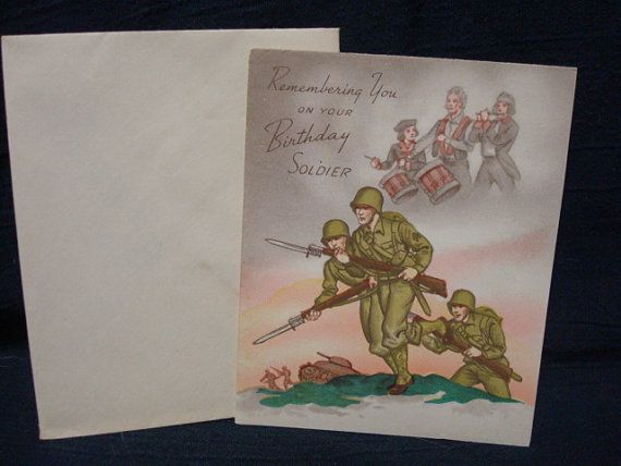 1940s Army Soldier Birthday Greetings Card Military World War Ii