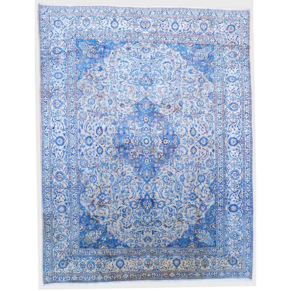 Persian Hand-knotted Mashad Ivory/ Light Blue Wool Rug (9'6 x 12'4) | Overstock.com