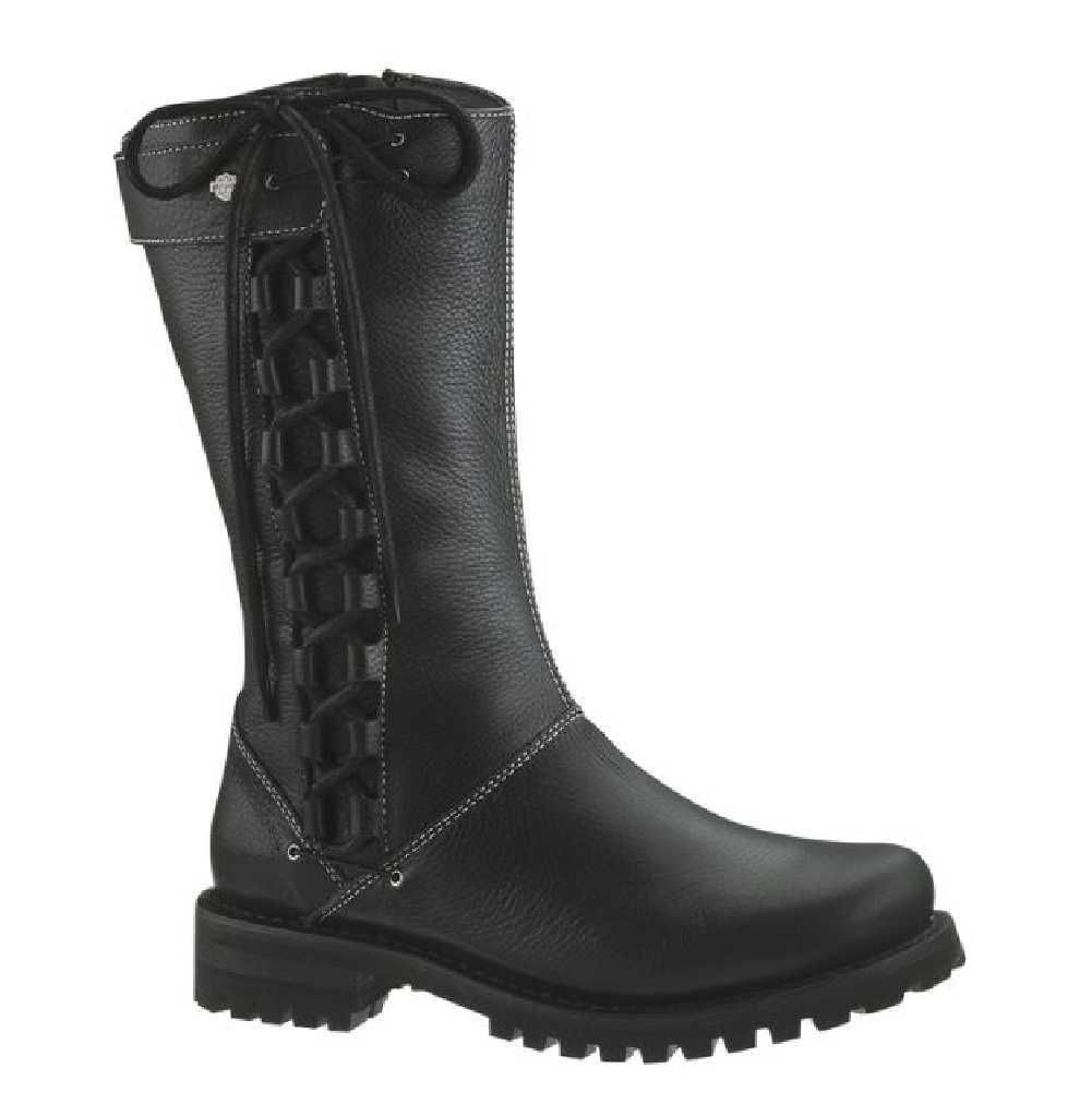 Free Shipping Harley Davidson Womens Melia Welted 10 Inch Leather Protectant Motorcycle Boots Side