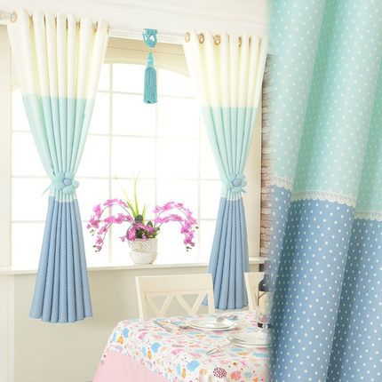 Ming- poly upscale short half-curtain curtain fabric finished custom