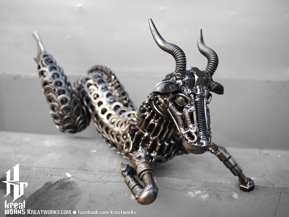 Recycled Metal Capricorn --- Zodiac Astrology sign sea-goat December January Earth.