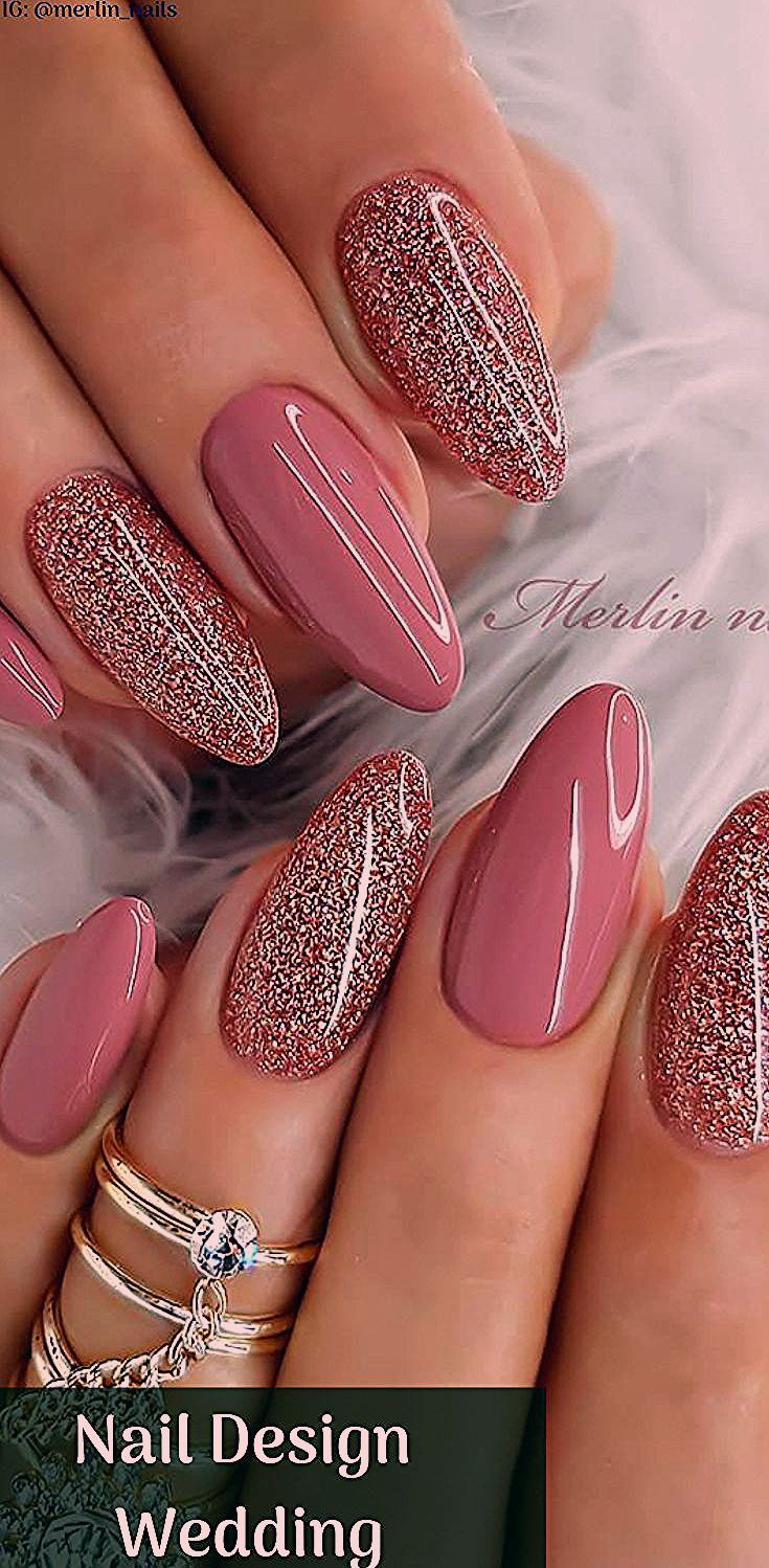 Nail Design Wedding shiny nails ideal for Valentine's Day with beautiful design … #with #beautiful #brilliant #design # ideal – #brilliant