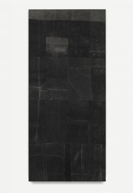AYAN FARAH Untitled (Torn), 2014 Mud and indian ink on linen , 200 x 90 cm