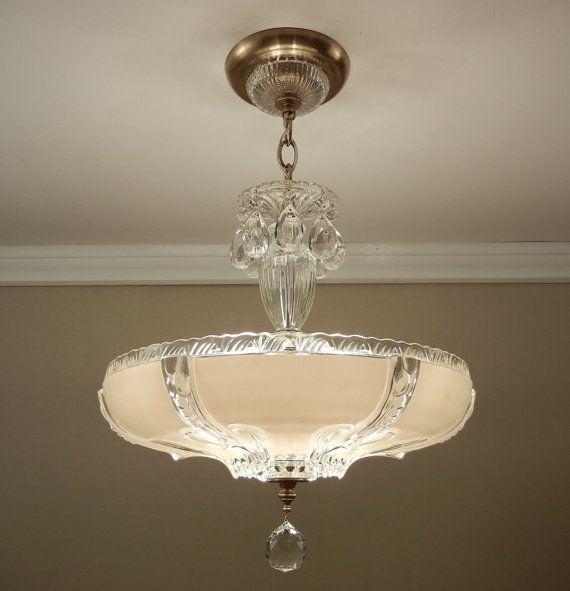 Antique Chandelier 1930 S Art Deco Style Cream Color Pressed Glass Vintage Ceiling Light Fixture Rewired Chandelier Antique Chandelier Art Deco Fashion