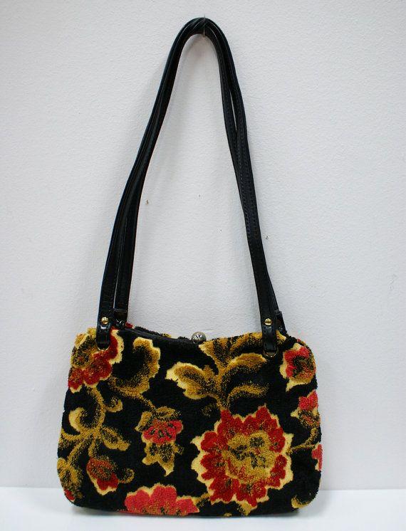 SALE Vintage Carpet Handbag with Black Vinyl by TheModernHistoric