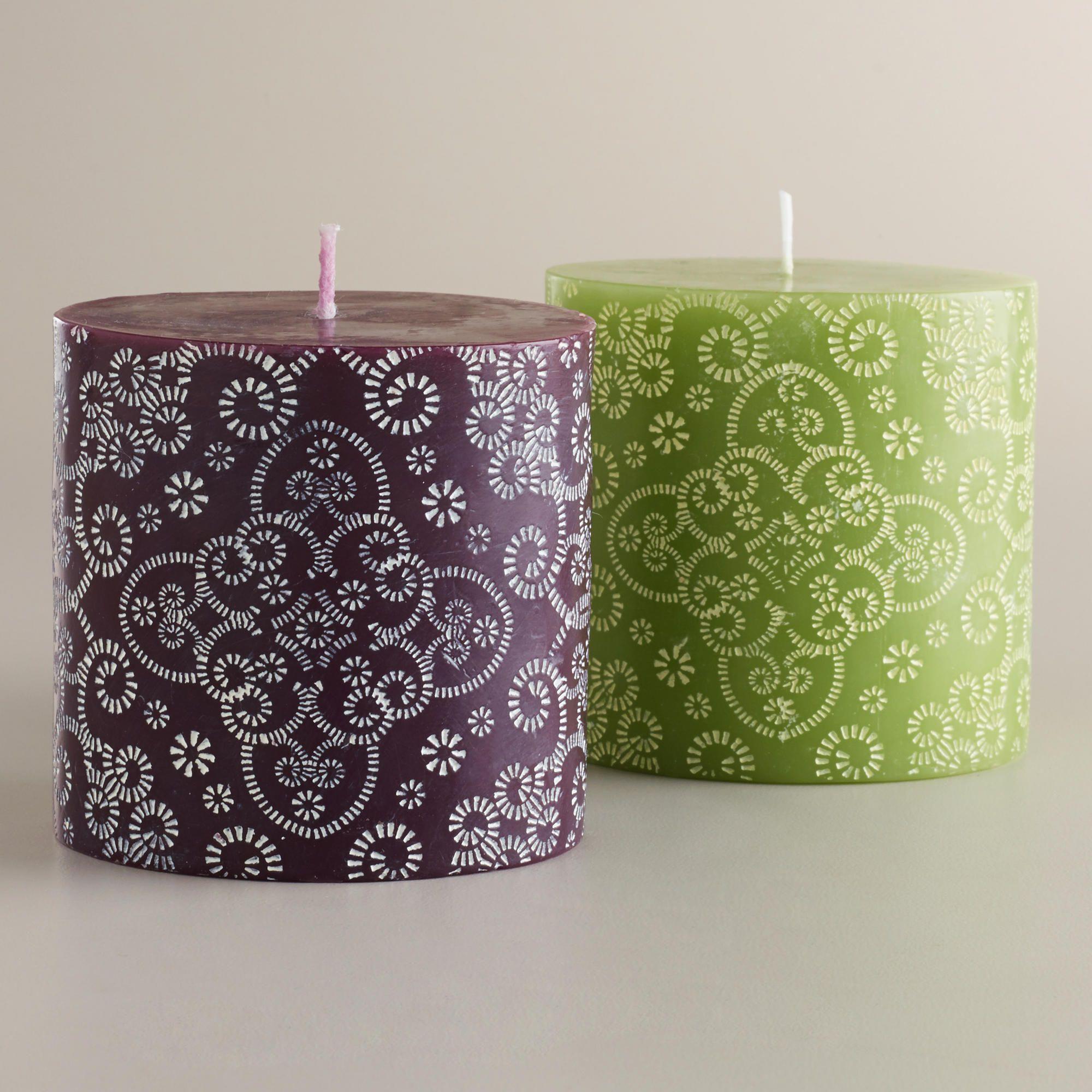 Small maison pillar candles set of world market