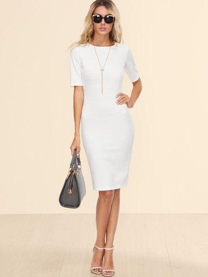Bleistift Kleid 2017 Hinten mit Schlitz Weiß   Kleider 2017   Pinterest