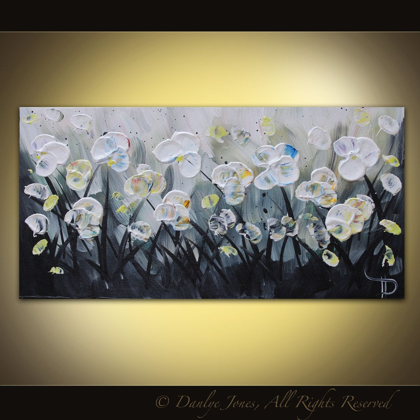 White Flower Painting Grey Original Acrylic Painting On Canvas 20x10