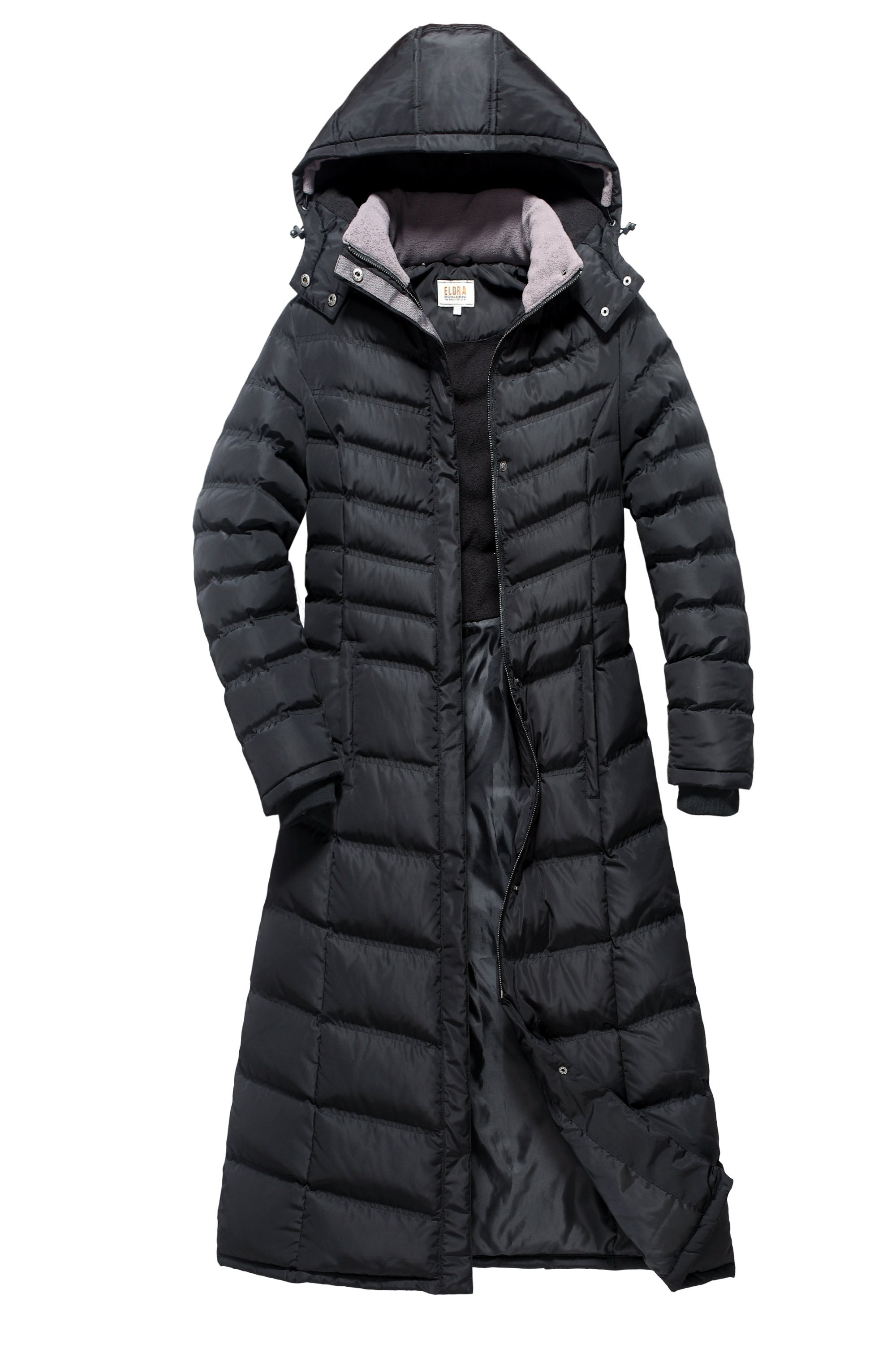 ELORA Women s Full length fleece trim puffer maxi coat in 2019 ... c1bf4fe26