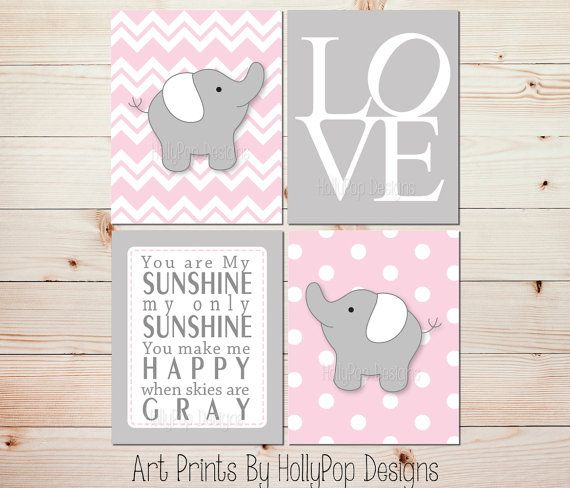 Pink Gray Nursery Art Elephant Nursery Prints Pink Nursery
