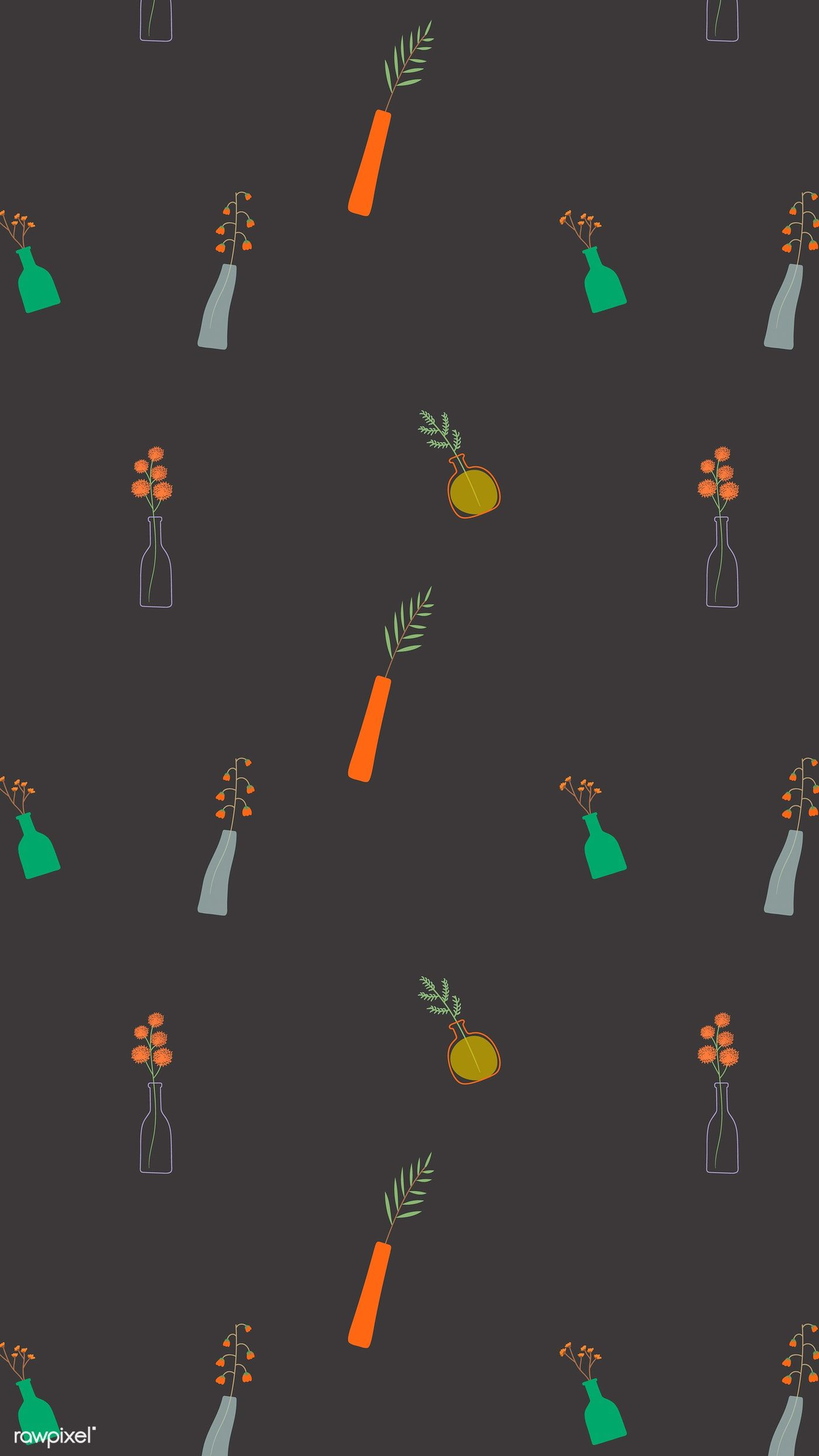 Download Premium Vector Of Colorful Doodle Flowers In Vases On Black Flower Doodles Colorful Doodles Whatsapp Wallpapers
