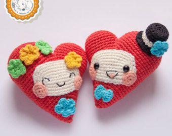 Tutorial Angioletto Amigurumi : Pattern double heart crochet pattern amigurumi pattern