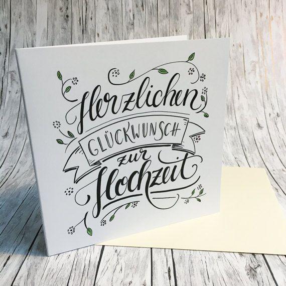 Herzlichen Gluckwunsch Zur Hochzeit Handlettering Grusskarte Happy Birthday Hand Lettering Hand Lettering Cards Hand Lettering