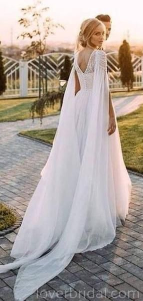 Unique Design beaded Beach Long Wedding Dresses Online, Cheap Bridal Dresses, WD529 - Cape wedding dress, Online wedding dress, Cheap bridal dresses, Long wedding dresses, Wedding dresses, Boho wedding dress - Unique Design Beach Long Wedding Dresses Online, Cheap Bridal Dresses, WD529 The wedding dresses are fully lined, 8 bones in the bodice, it's non see through chest pad in the bust, lace up back or zipper back are all available, many colors are availableThis dress could be custom made, there are no extra cost to do cust