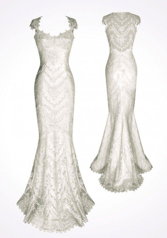 Cap Sleeves Mermaid Brautkleider ♥ White Lace Zurück Brautkleid ...