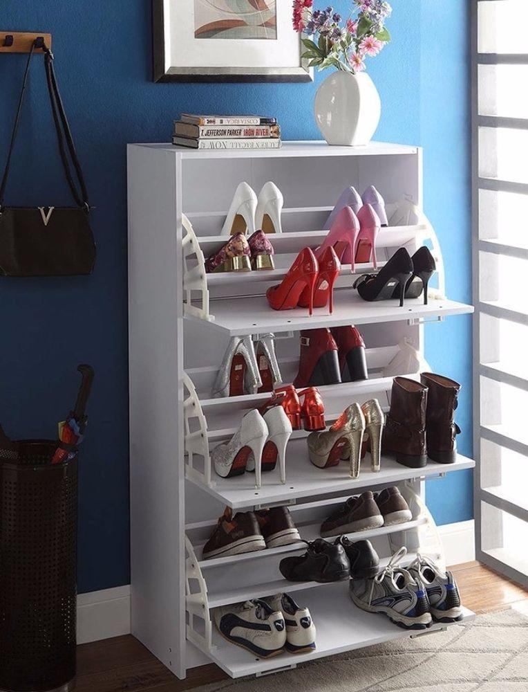 Deluxe White Triple Shoe Cabinet Closet Storage Organizer Home Improvement  #organizer #storage #furniture #closet #shoecabinet