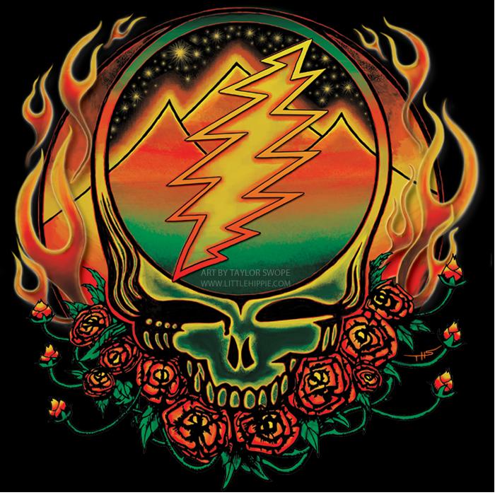 Scarlet Fire Steal Your Face Art By Taylor Swope Grateful Dead Poster Grateful Dead Grateful Dead Tattoo