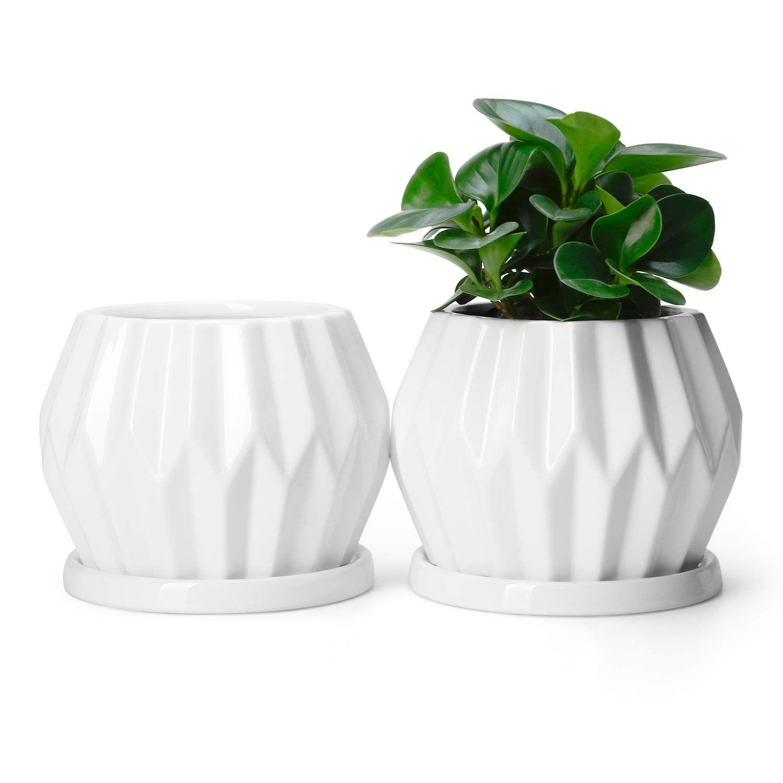 Potey Ceramic Plant Flower Pots Planters 4 3 Medium Midcentury Planter With Drain Hole Saucer Deco Indoor Planting Flowers Flower Pots Mid Century Planter