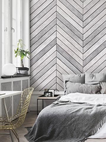 Chevron Grey White Wood Accent Mural Wall Art Wallpaper - Peel and Stick - Simple Shapes