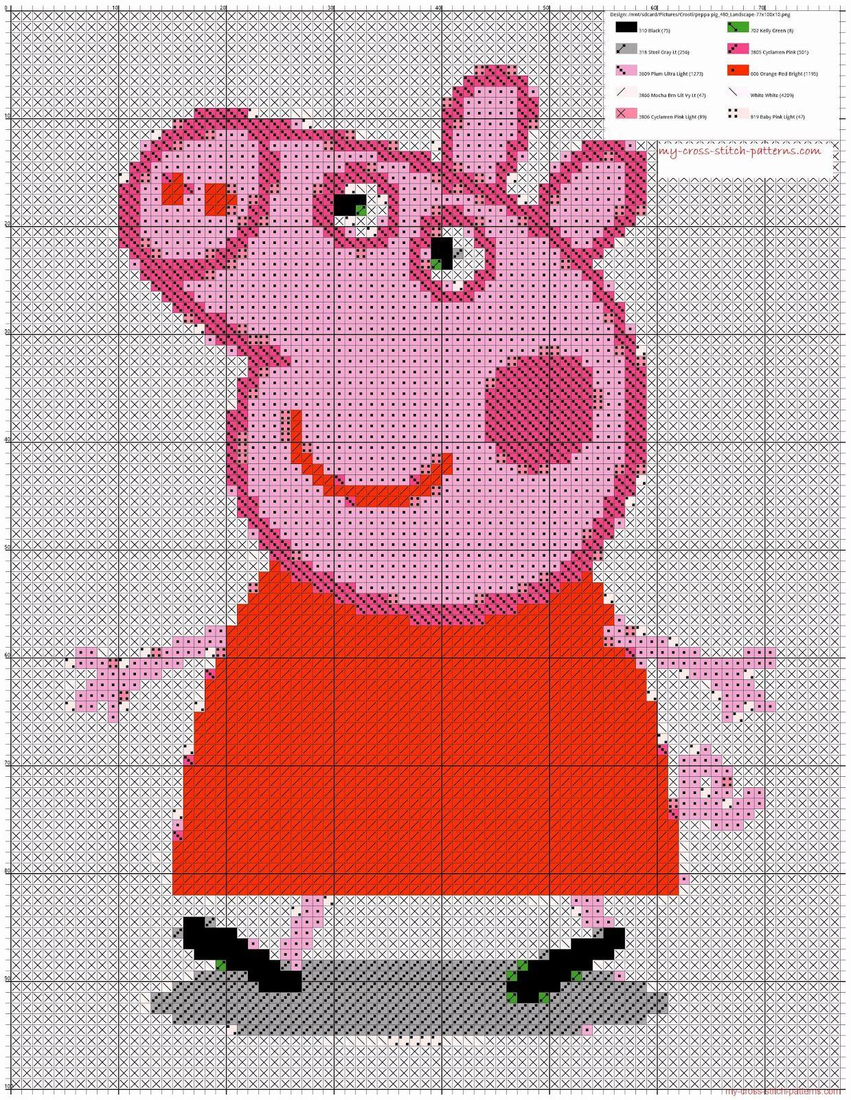 Схема свинки пеппы вышивка 693