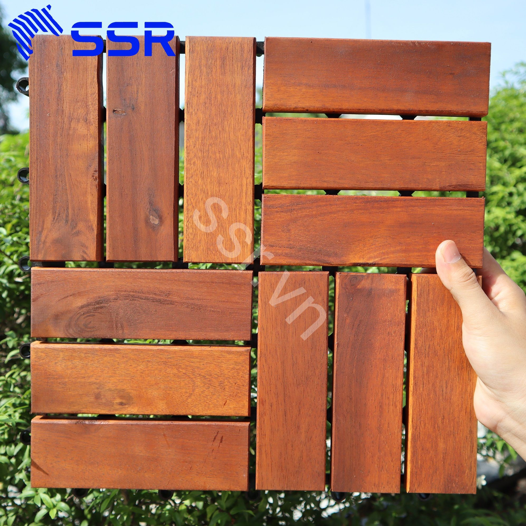 Wood decking tile for patio/ garden/ swimming pool Size