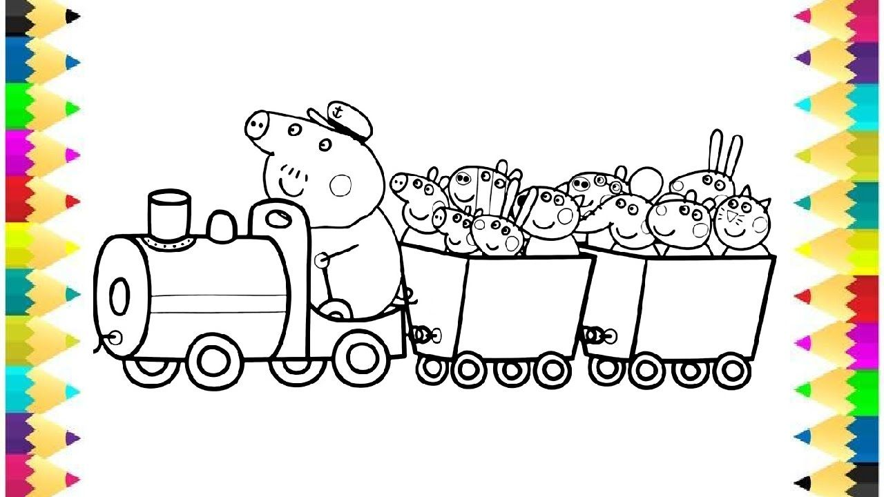 Peppa Pig and Her Friends in Train Coloring Book Pages Kids Fun Art ...