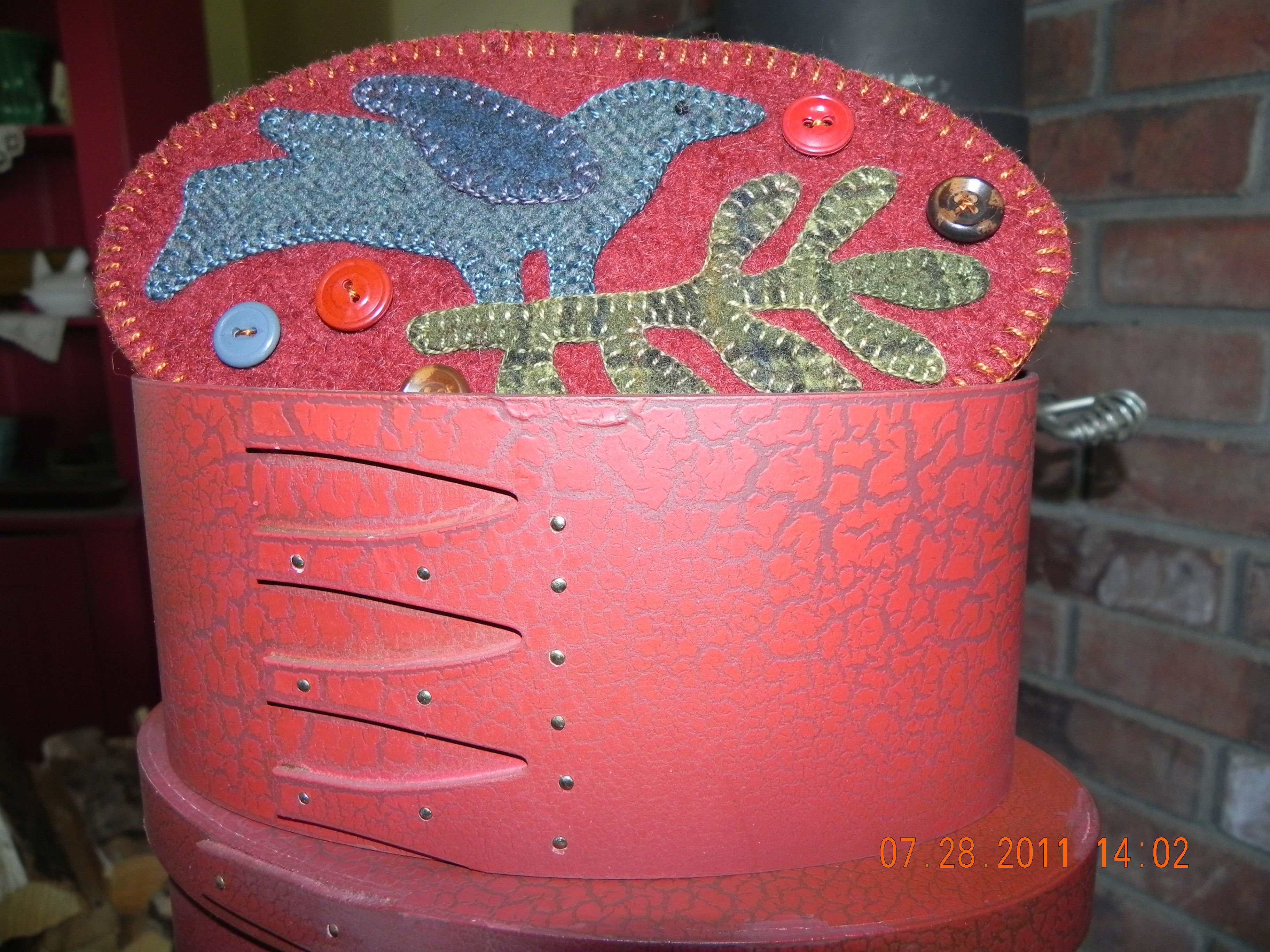 Wool applique topper on reproduction oval box stitched