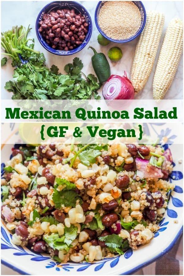 Vegan amp Gluten Free Mexican Quinoa Salad with Black Beans, Corn, and Cilantro. A super easy protein