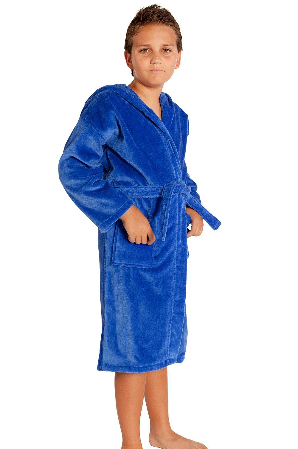 765903d4a1 Royal Blue Hooded Terry   Velour Kid s Bathrobe