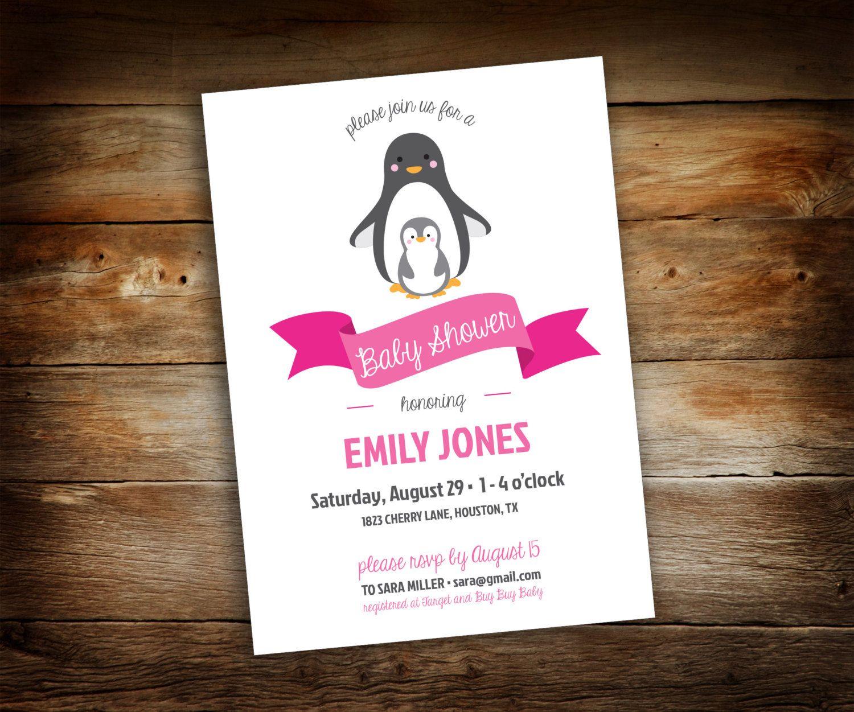 Penguin Baby Shower - Penguin Shower Invitation - Baby Shower ...
