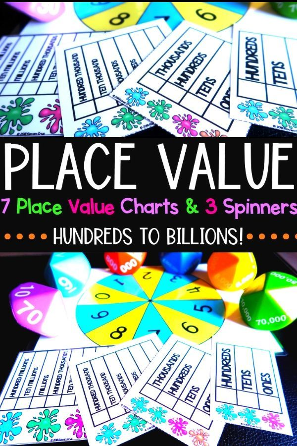 Place Value Charts Spinner Math Pre K Fifth Grade