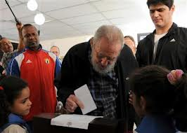 Fidel Castro in rare public appearance voting in Cuba's parliamentary elections #cubanleader